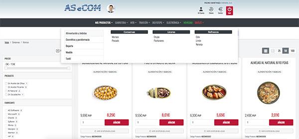 Beneficios del ecommerce - Vista de Menú categorías